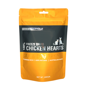 Freeze Dry Australia Freeze Dried Chicken Hearts Cat and Dog Treats 100g