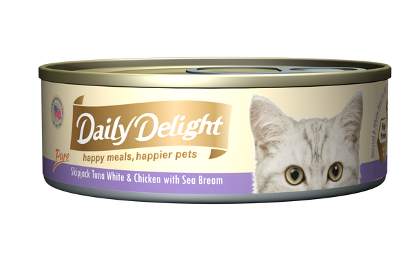 Daily Delight Pure Skipjack Tuna White & Chicken with Sea Bream Cat Canned Food 80g