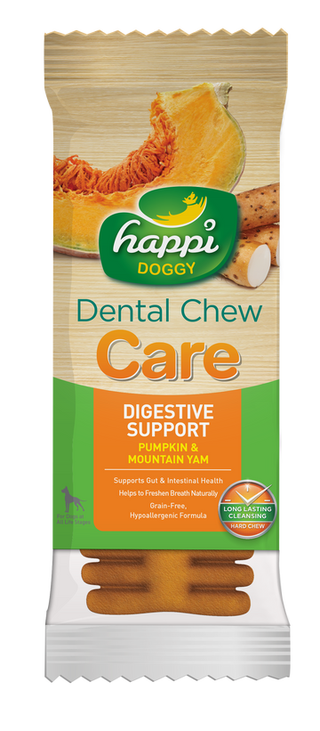 BUY 3 FREE 1: Happi Doggy Dental Chew Care Pumpkin & Mountain Yam Digestive Support 4 Inch