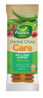 BUY 3 FREE 1: Happi Doggy Dental Chew Care Rosehip & Okra Hip & Joint Support 4 Inch