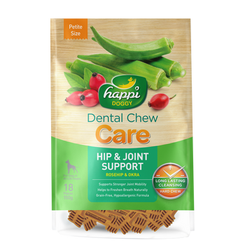 2 FOR $15.80: Happi Doggy Dental Chew Care Rosehip & Okra Hip & Joint Support (2 Sizes)