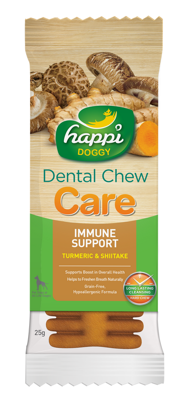 BUY 3 FREE 1: Happi Doggy Dental Chew Care Tumeric & Shitake Immune Support 4 Inch