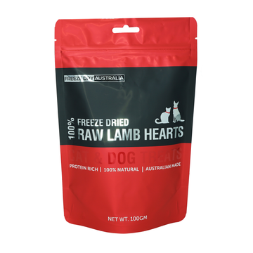 Freeze Dry Australia Freeze Dried Lamb Hearts Cat and Dog Treats 100g