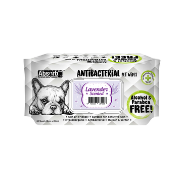 Absorb Plus Antibacterial Pet Wipes Lavender (Bundle of 3)