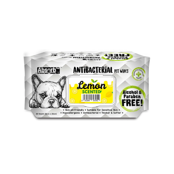 Absorb Plus Antibacterial Pet Wipes Lemon (Bundle of 3)