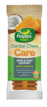BUY 3 FREE 1: Happi Doggy Dental Chew Care Honey & Coconut Oil Skin & Coat Support 4 Inch