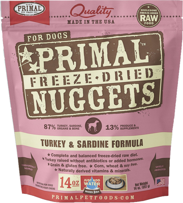 Primal Freeze-Dried Canine Turkey Sardine Nuggets 14oz (Bundle Deal)