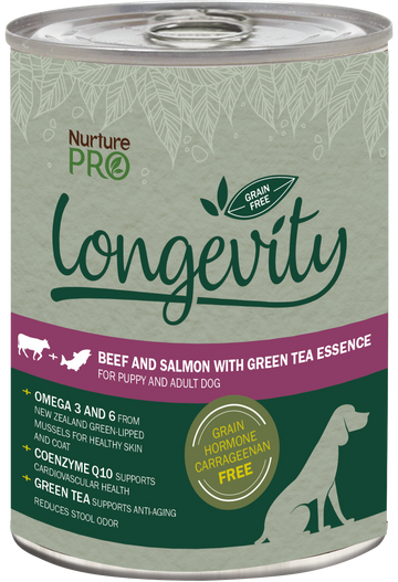 Nurture Pro Longevity Grain Free Beef and Salmon with Green Tea Essence Canned Dog Food 375g