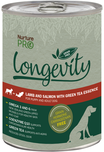 Nurture Pro Longevity Grain Free Lamb and Salmon with Green Tea Essence Canned Dog Food 375g