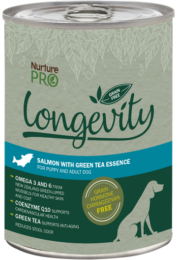 Nurture Pro Longevity Grain Free Salmon with Green Tea Essence Canned Dog Food 375g