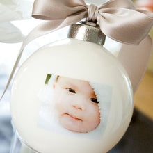 Load image into Gallery viewer, Custom Picture Globe™ Ornament with Inscription