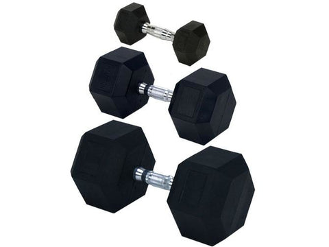 Rubber Encased Solid Hex Dumbbell 10lb