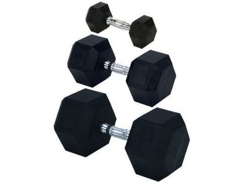 Rubber Hex Dumbbell Set (5-50 lb.)