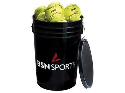 "BSN SPORTS Bucket w/2 dz 12"" Softballs"