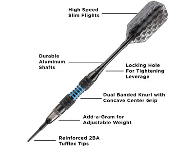 Viper Bobcat Adjustable Soft Tip Darts Blue Rings 16-18 Grams