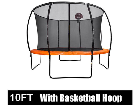 10FT Trampoline with Safety Enclosure Net, Hoop and Ladder, Trampoline for Kids