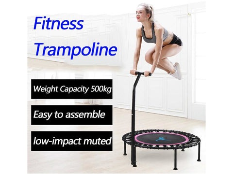 "Silent Mini 40"" Fitness trampoline with Adjustable Handle length For indoor Workout"