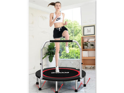 Foldable 40 inch Mini Fitness Trampoline with Foam Handle for Jumping Exercise. Indoor Fitness & Play