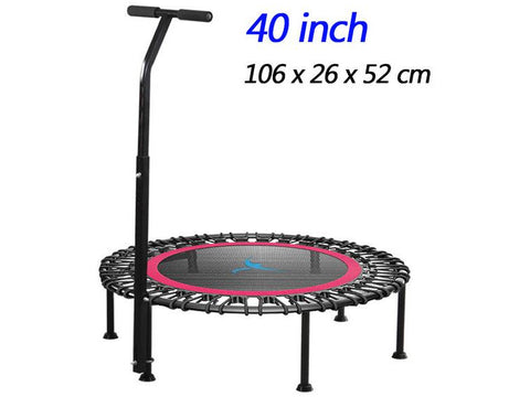 "Image of Silent Mini 40"" Fitness trampoline with Adjustable Handle length For indoor Workout"