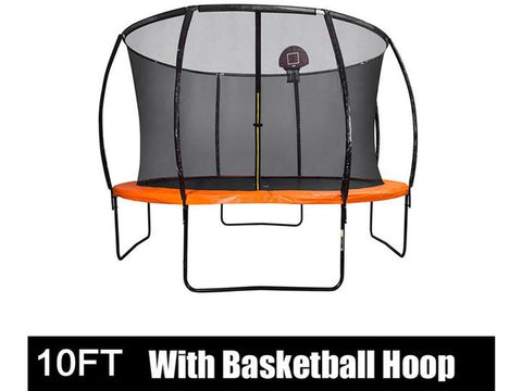 Image of 10FT Trampoline with Safety Enclosure Net, Hoop and Ladder, Trampoline for Kids