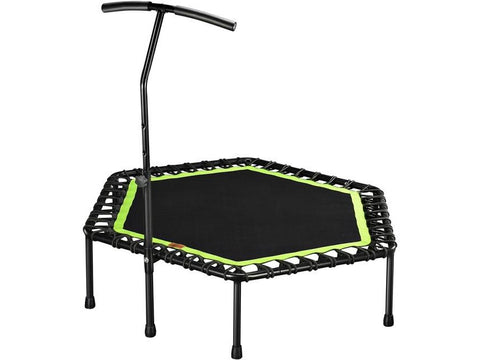 "48"" Silent Mini Fitness Trampoline with Adjustable Handle Bar  For indoor and Outdoor Cardio Workout"