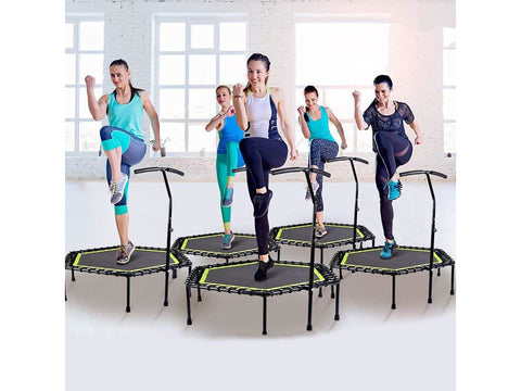 Image of 48 Inch Hexagonal Muted Fitness Trampoline with Adjustable Handrail for Indoor GYM Jump Sports Adults Kids Safety