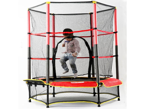 MK-55 Children's Safe Trampoline. Round Bounce Bed With Protective Net for Bouncing and Jumping Indoor or outdoor
