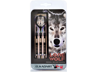 Elkadart Lone Wolf Soft Tip Darts Silver With Black Knurling