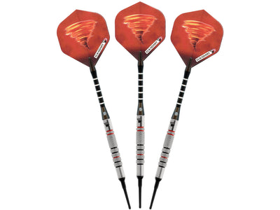 Elkadart Tornado 90% Tungsten Soft Tip Dart Set 3 Red and 4 Black Rings 18 Grams