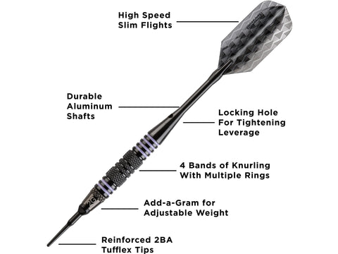 Image of Viper Bobcat Adjustable Soft Tip Darts Purple Rings 16-18 Grams