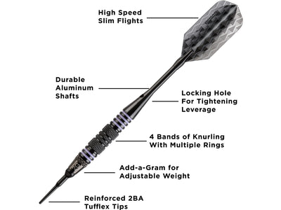 Viper Bobcat Adjustable Soft Tip Darts Purple Rings 16-18 Grams