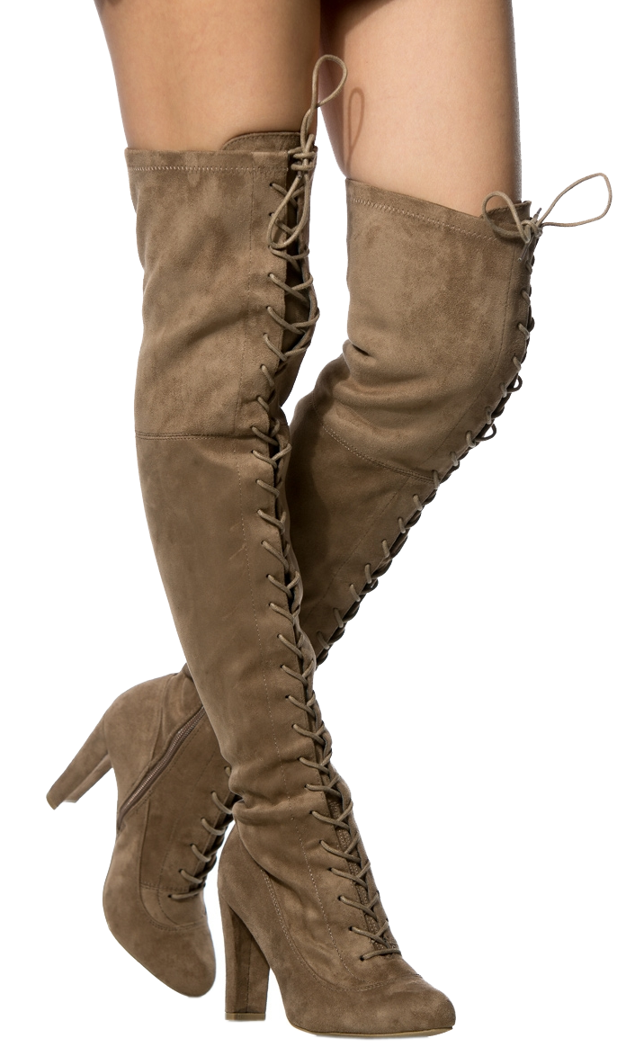 AMAYA-07 FAUX SUEDE LACE UP OVER THE KNEE BOOTS