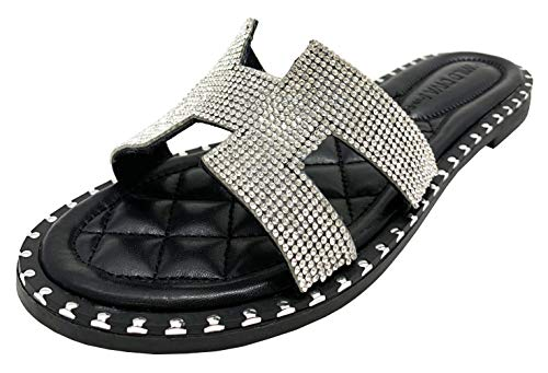 TIA-02 WOMEN'S OPEN TOE FASHION FLAT SANDALS RHINESTONE SLIP-ON FLIP FLOP