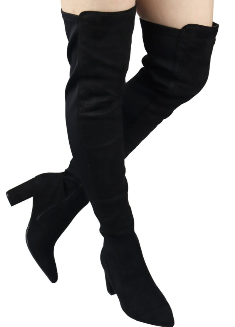 AMIYA-07 CHUNKY HEEL THIGH HIGH BOOTS