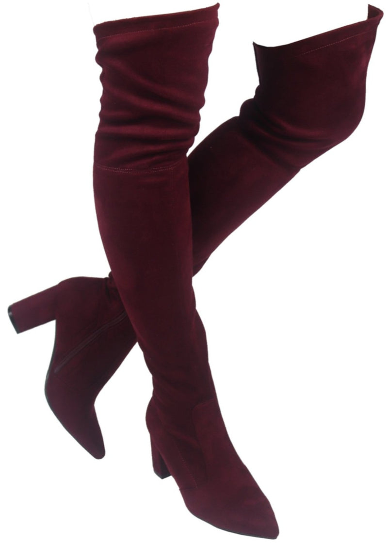 AMIYA-08 LOW CHUNKY HEEL KNEE HIGH BOOTS