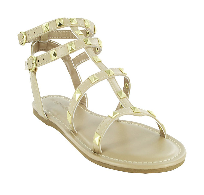CLOVER-230 OPEN TOE STUDDED DECOR ANKLE STRAP SANDALS