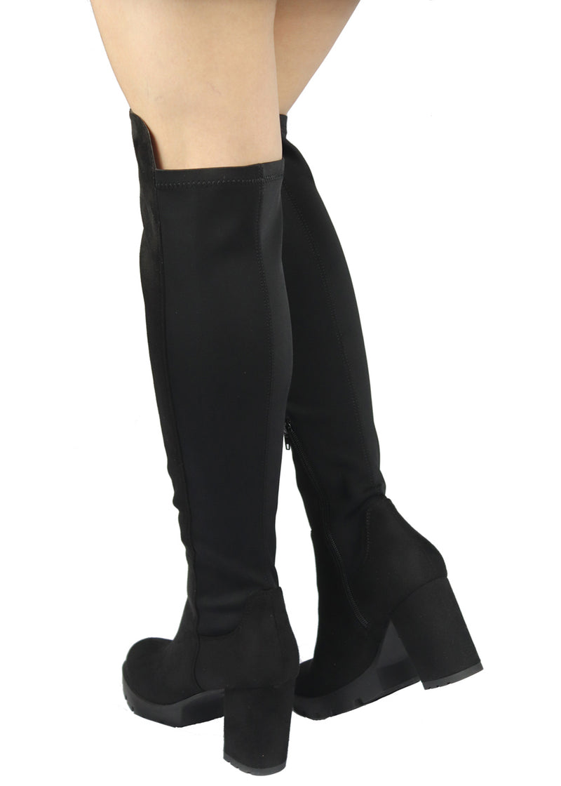 GOSSIP-10 PLATFORM CHUNKY HEEL OVER THE KNEE HIGH BOOTS