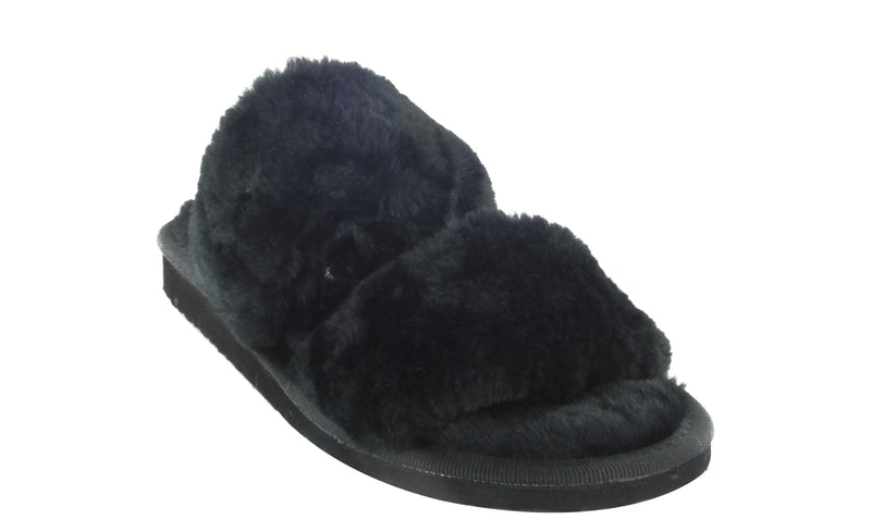 HONOR-04 FLUFFY SOFT COMFY FAUX FUR DOUBLE STRAP SLIP ON SLIPPERS