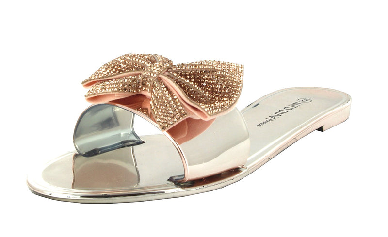 JOANIE-207 BOW RHINESTONE SLIPPER SLID SANDALS