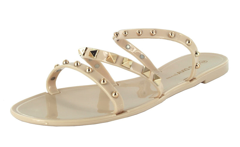 JOANIE-258 FLAT JELLY SLIDES SANDALS