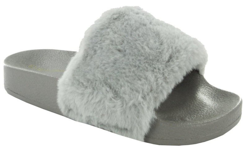 MATTY-01 FAUX FUR SLIDE SANDALS