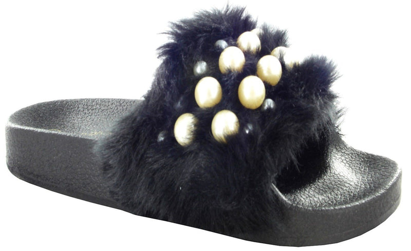 MATTY-04A FAUX FUR SLIDE SANDALS