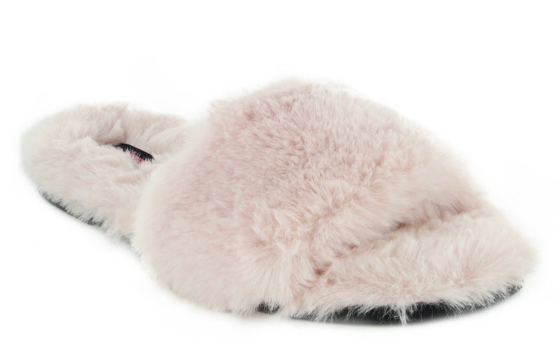 Melisa-06 SOFT-COMFY FLUFFY FLIP FLOP FAUX FUR SLIP ON
