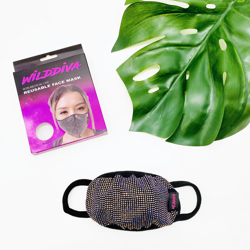 RhineStones UniSex Face Mask Cover Accessory Adjustable , Reuseable Washable in Multicolors