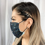RhineStones UniSex Face Mask Cover Accessory Adjustable , Reuseable Washable in Black/Multi colors