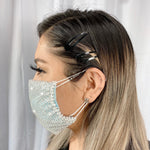 RhineStones UniSex Face Mask Cover Accessory Adjustable , Reuseable Washable in All White
