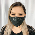 RhineStones UniSex Face Mask Cover Accessory Adjustable , Reuseable Washable Black color