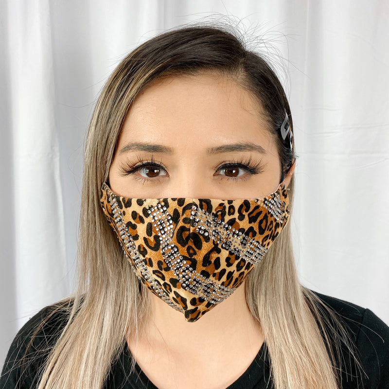 RhineStones Stripes UniSex Face Mask Cover Accessory Adjustable , Reuseable Washable Leopard print