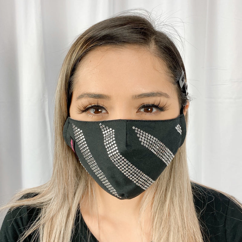 RhineStones Stripes UniSex Face Mask Cover Accessory Adjustable , Reuseable Washable Black color