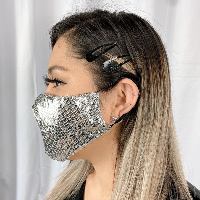Sequins UniSex Face Mask Cover Accessory Adjustable , Reuseable Washable Black color